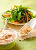 Gekookte groenten met zich het kleden Stock Foto