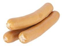 Gekookte hotdogworsten op witte achtergrond Stock Foto