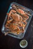 Gekookte krab met kruidige saus Stock Foto