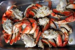 Gekookte krabbenen in een pan Royalty-vrije Stock Foto's
