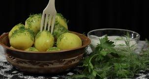 Gekookte nieuwe heerlijke aardappel op plaat met verse dille op lijst klaar te eten stock foto's