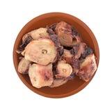 Gekookte octopus in kleine kom met knoflooksaus Royalty-vrije Stock Afbeelding