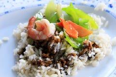 Gekookte rijst en garnalen Royalty-vrije Stock Afbeelding