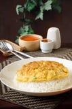 Gekookte rijst met omeletopstelling Stock Afbeeldingen