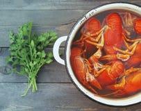 Gekookte rivierkreeften in een pan, greens van peterselie en een mes Royalty-vrije Stock Afbeeldingen