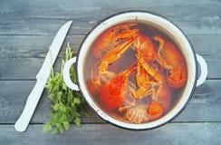 Gekookte rivierkreeften in een pan, greens van peterselie en een mes Royalty-vrije Stock Foto's