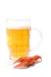 Gekookte rivierkreeften en bierfles Royalty-vrije Stock Fotografie