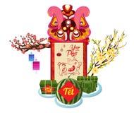 Gekookte vierkante glutineuze rijstcake en bloesem, Vietnamees nieuw jaar Maan nieuwe jaar het vertaal van Tet royalty-vrije illustratie