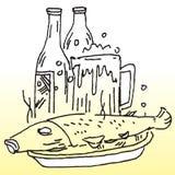 Gekookte vissen en liqour Royalty-vrije Stock Afbeeldingen