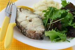 Gekookte vissen met fijngestampte aardappel Stock Afbeelding