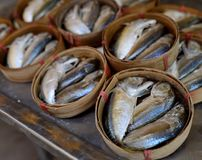 Gekookte vissen in vaten Stock Afbeelding