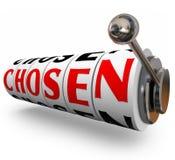 Gekozen Word 3d Willekeurige de Keusselectie van Gokautomaatwielen Stock Foto's