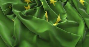 Gekräuselter schön wellenartig bewegender Makronahaufnahme-Schuss Adygea Flagge Stockbild