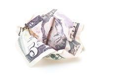 Gekrümmte fünf US-Dollar Anmerkung Lizenzfreies Stockfoto