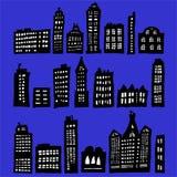 Gekrümmte Häuser nachts Stockfotografie