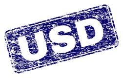 Gekrast USD ontwierp Rond gemaakte Rechthoekzegel royalty-vrije illustratie