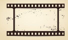 Gekraste de zwarte bevlekte de horizontale strook van de grungefilm met schaduw want de reclametekst op bruine achtergrond is Vec vector illustratie