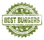 Gekraste Geweven BESTE BURGERS-Zegelverbinding vector illustratie