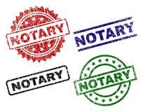 Gekraste Geweven NOTARIS Stamp Seals Vector Illustratie