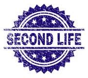 Gekraste Geweven SECOND LIFE-Zegelverbinding vector illustratie