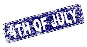 Gekraste 4TH VAN JULI ontwierpen Rond gemaakte Rechthoekzegel Royalty-vrije Stock Afbeelding