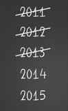 2011, 2012, 2013 gekreuzt und neue Jahre 2014, 2015 Stockbild