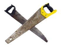 Gekreuzte Hand-sawhandsäge getrennt über Weiß Lizenzfreies Stockbild