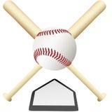 Gekreuzte Hiebe des Baseballs Emblem über Hauptplatte Stockbild