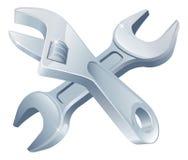 Gekreuzte Schlüsselwerkzeuge Stockbilder