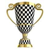 Gekreuztes goldenes Cup der checkered Trophäe, Symbole von Stockfoto