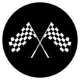 Gekreuztes Schwarzweiss-Zielflaggelogo begrifflich vom Motorsport, lokalisiert auf Weiß Lizenzfreie Stockfotos