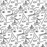 Gekritzel-abstraktes Muster mit Linie Hand gezeichnetes Gesicht, Fisch, Boot, Meer und Rauch Lizenzfreie Stockfotografie