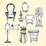 Gekritzel-antike Möbel auf Papier Lizenzfreie Stockfotos