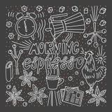 Gekritzel-Art-Skizze Morgenespressobeschriftungstasse kaffee-Gesanghahnwarnung lizenzfreie abbildung