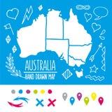Gekritzel-Australien-Reisekarte mit Stiften und Extrakosten Lizenzfreie Stockfotografie