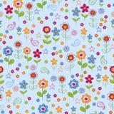 Gekritzel-Blumen-Garten-nahtloses Wiederholungs-Muster Lizenzfreie Stockfotos