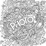 Gekritzel der Karikatur nette Hand gezeichnete Fotoaufschrift Lizenzfreies Stockfoto