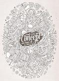 Gekritzel der Karikatur nette Hand gezeichnete Ideenillustration Stockfoto