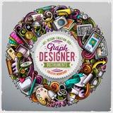 Gekritzel der Karikatur nette Hand gezeichnetes rundes Rahmendesign Designs Alle Einzelteile sind unterschiedlich stock abbildung