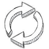 Gekritzel eines Auffrischungpfeilzeichens lizenzfreies stockfoto