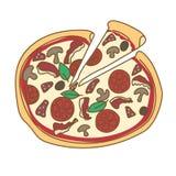 Gekritzel-Farbillustration der Pizza Hand gezeichnete Lizenzfreie Stockfotografie