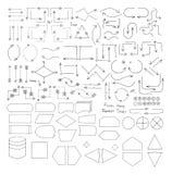 Gekritzel-Flussdiagramm-Schnittstellen-Elemente Stockfotografie
