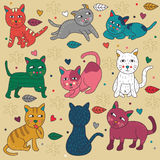 Gekritzel-gesetzte Katzen-nette Vektor-Illustration Stockbilder