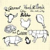 Gekritzel Gourment und Fleisch stock abbildung