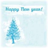 Gekritzel-Hand gezeichnete guten Rutsch ins Neue Jahr-Illustration Baum des neuen Jahres auf dem Aquarellhintergrund Stock Abbildung