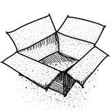 Gekritzel-Kasten, Paket oder Versand Schwarze Kontur der Skizze auf weißem Hintergrund Stockfotos