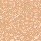 Gekritzel-kindisches nahtloses Muster Lizenzfreie Stockfotografie