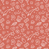 Gekritzel-kindisches nahtloses Muster Lizenzfreie Stockbilder