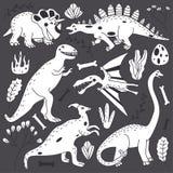 Gekritzel-Linie netter Dinosaurier-Vektor-gesetzte Illustration Stockbilder