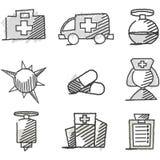 Gekritzel: Medizinische Ikonen Lizenzfreies Stockfoto